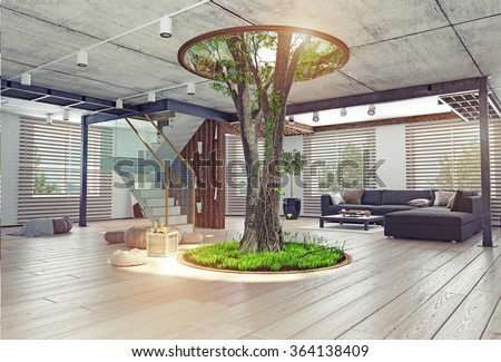 eco design modern interior real living stock illustration 364138409 shutterstock. Black Bedroom Furniture Sets. Home Design Ideas