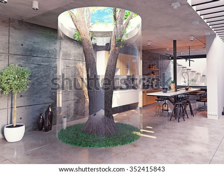 eco design of the modern  interior. Real tree indoor. 3d concept