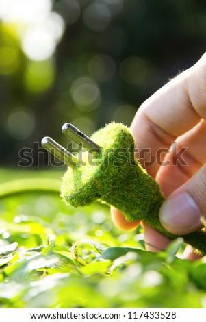 eco electric plug concept - stock photo