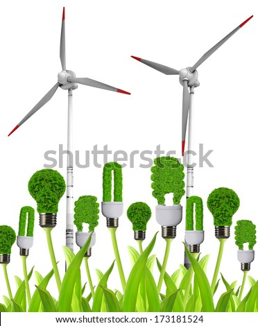 Eco energy bulbs with wind turbines. Green energy concept. - stock photo