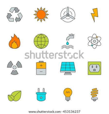 Eco energy color line icons. Electricity power icon objects