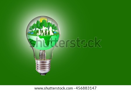 ECO energy saving concept in our world green light bulb.