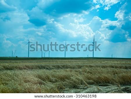 eco energy, wind turbines - stock photo