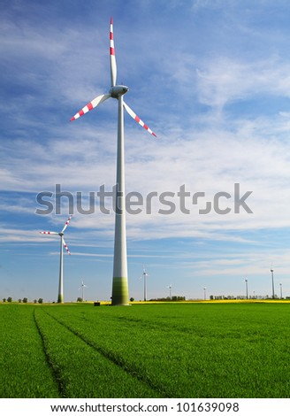 Eco energy - wind turbines farm - stock photo