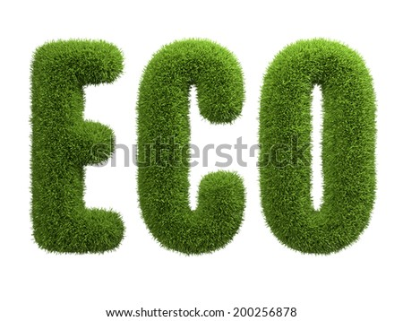 Eco food label. Green grass.