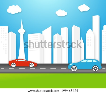 eco-friendly city skyline with fresh clean white buildings under a sunny unpolluted blue sky with electric cars on the highway and lush green grass - stock photo