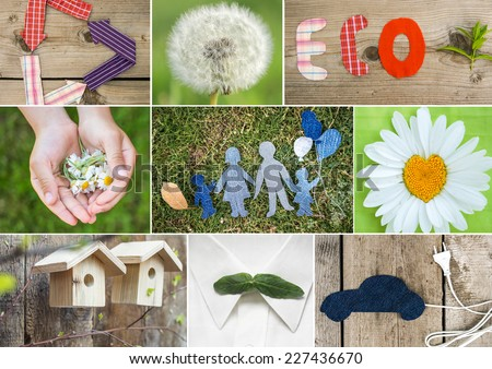 Eco friendly collage. Think green concept - stock photo