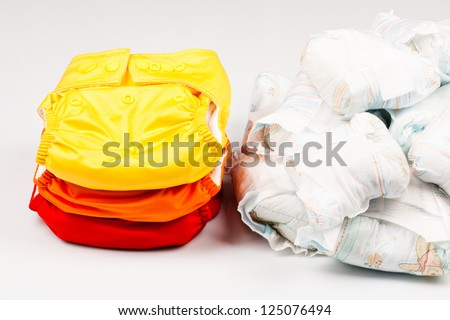 Eco friendly diapers and pampers - stock photo