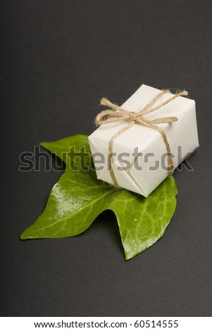 Eco friendly gift on black background.