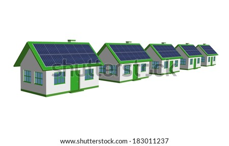 Eco Friendly Houses - 3d render single-family detached housing models with the Solar Panels