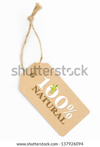 Eco friendly label, 100% natural - stock photo
