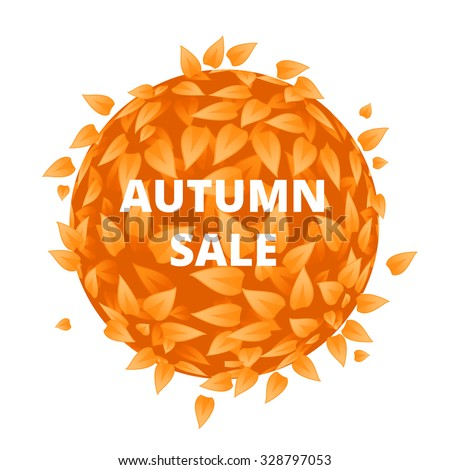 Eco Friendly label. Yellow leaves.  illustration. Orange leaves with sale font. Sale banner with leaves. Sale, Grass, Eco Friendly label. Tourism, cosmetics, discount background