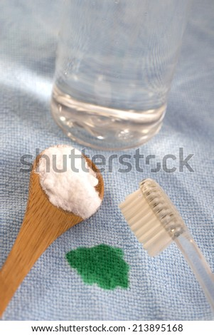 Eco-friendly natural cleaners  soda bicarbonate,  lemon and cloth  Homemade green cleaning - stock photo