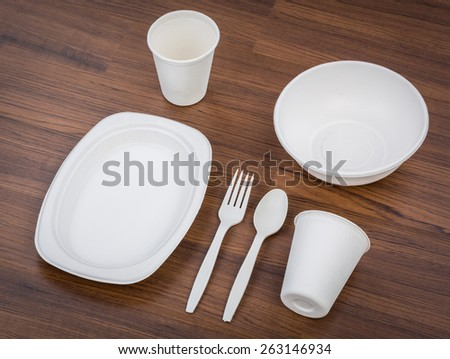 Eco friendly Unbleached plant fiber dishware set : plate, spoon ,cup - stock photo