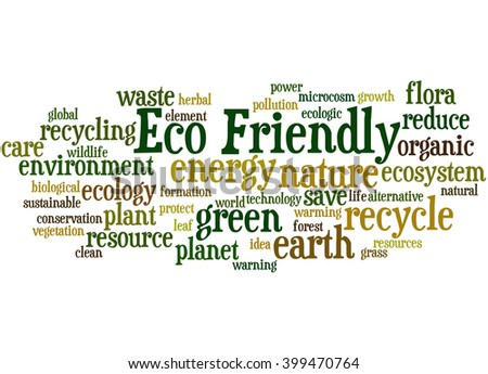 Eco Friendly, word cloud concept on white background.  - stock photo