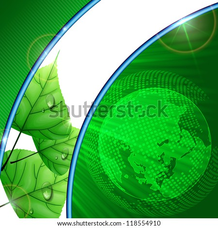 Eco green background with leaves