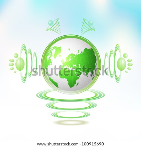 Eco Green Earth character suspended with waves on blue background