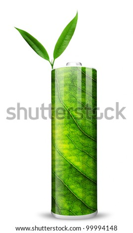 Eco green energy battery and two green leafs - stock photo