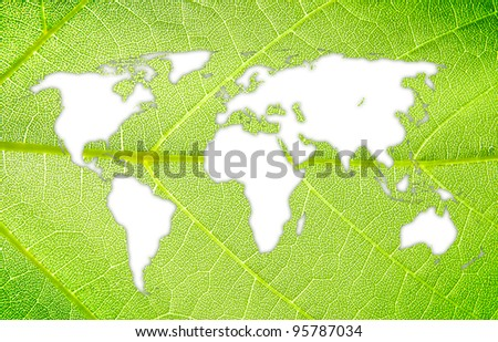 Eco green energy world continents map from leaf on white backround - stock photo