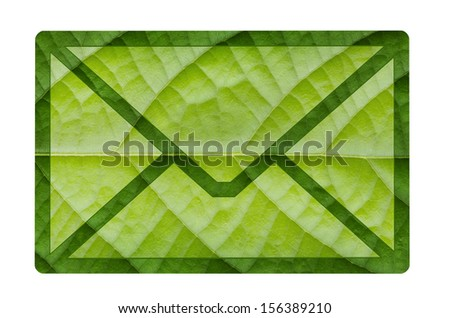 Eco green envelope icon from green leaf background
