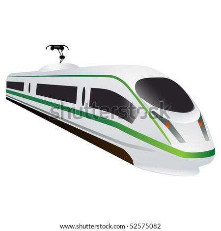 Eco green high speed locomotive - stock photo