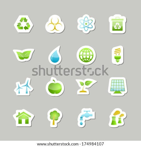 Eco green icons set for user interface design isolated  illustration