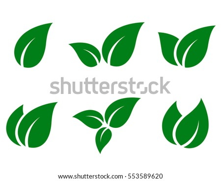 eco green leaf icon set on white background