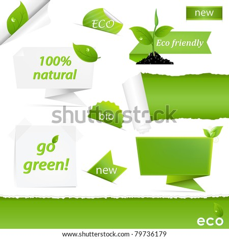 Eco Green Set, Isolated On White Background - stock photo