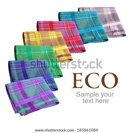 Eco handkerchiefs collection / studio photography of colorful nose-rags - isolated on white background  - stock photo