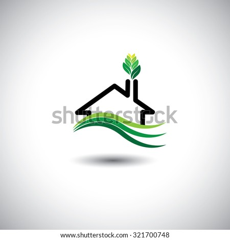 eco home concept graphic icon. This graphic can also represent sustainable housing development, man nature harmony & balance, ecological balance and sustenance - stock photo