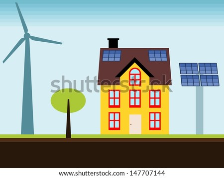 Eco home - property with self sustainable renewable energy sources. Wind turbine and solar power panels. - stock photo