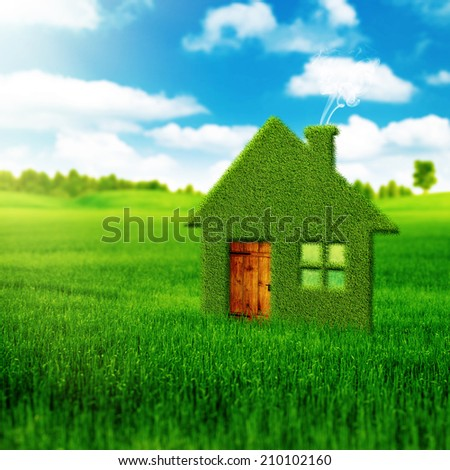 Eco house, abstract environmental backgrounds  - stock photo