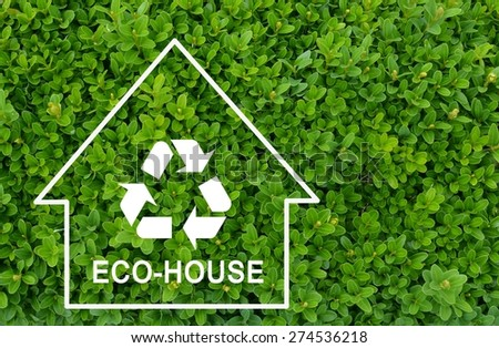 Eco house concept on green shrub background - stock photo