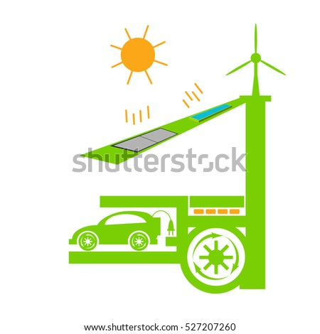 Eco house ellements. Eco electric car charge at home concept. Solar panel, wind turbine, eco energy. Raster illustration