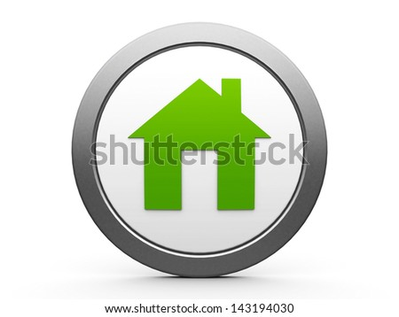 Eco house emblem isolated on white background, three-dimensional rendering - stock photo