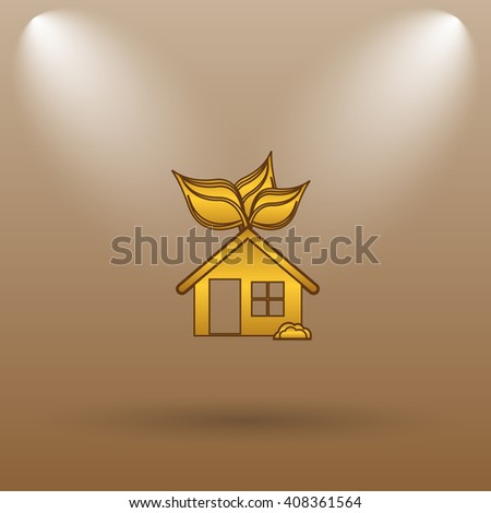 Eco house icon. Internet button on brown background.