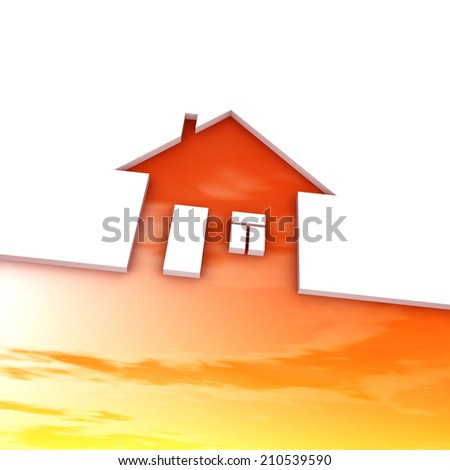 Eco house metaphor. House with sky and clouds.