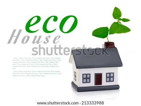 eco house or eco home with a leaf above the roof environmentally low-impact and eco-friendly construction - stock photo