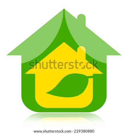 Eco house with green leaf, environmentally friendly concept - stock photo