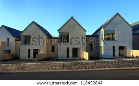 Eco Housing on Portland in Dorset England - stock photo