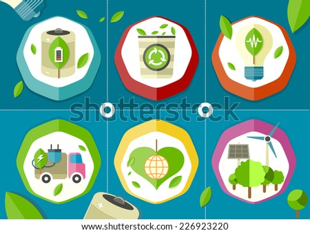 Eco icons green battery car on stylish background. Raster version - stock photo