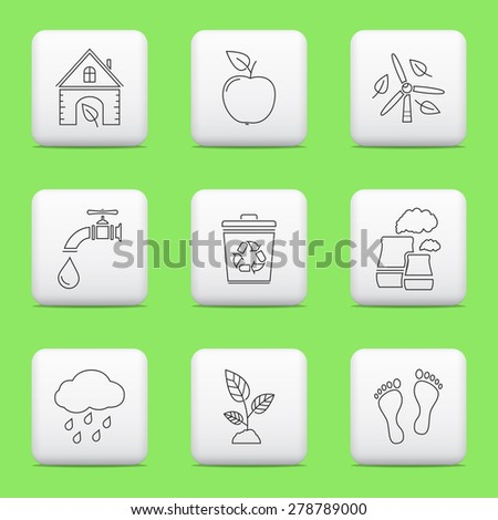 ECO icons, web buttons set