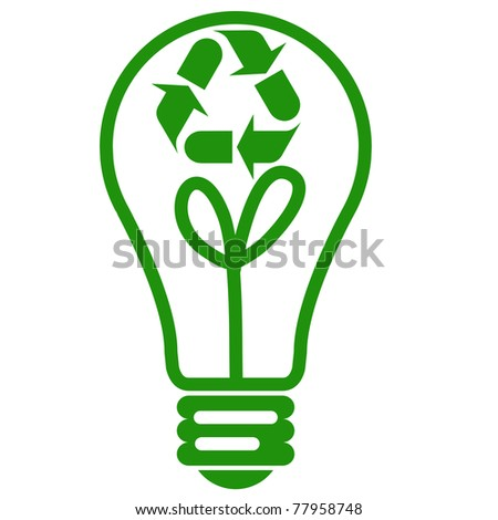 Eco idea, Recycle light bulb - stock photo