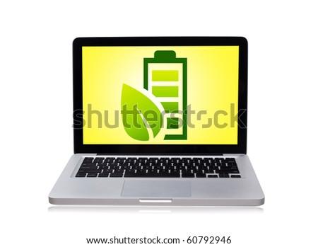 eco laptop, isolated on white - stock photo