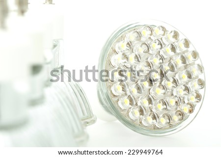 Eco LED light bulb isolated on white background - stock photo