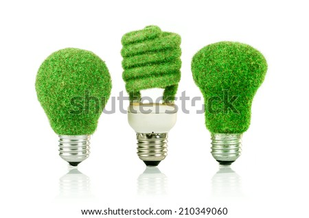 Eco light bulb isolated on white background - stock photo