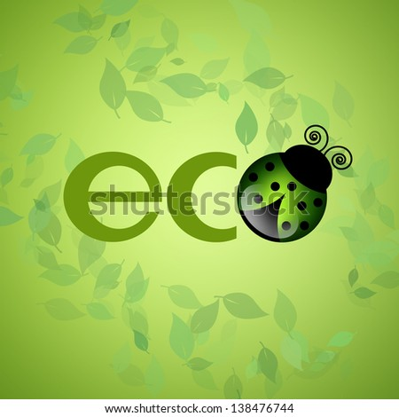 eco logo in the green with ladybug - stock photo