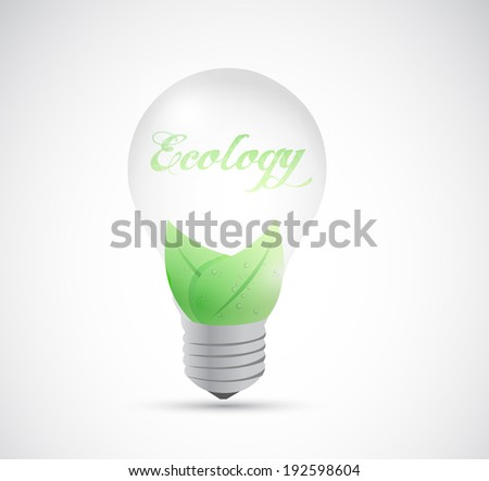 eco natural energy light bulb illustration design over a white background