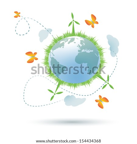 Eco--planet symbol/Eco-planet symbol with grass,wind power generators, clouds and butterflies