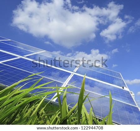 Eco power,Power plant using renewable solar energy with - stock photo